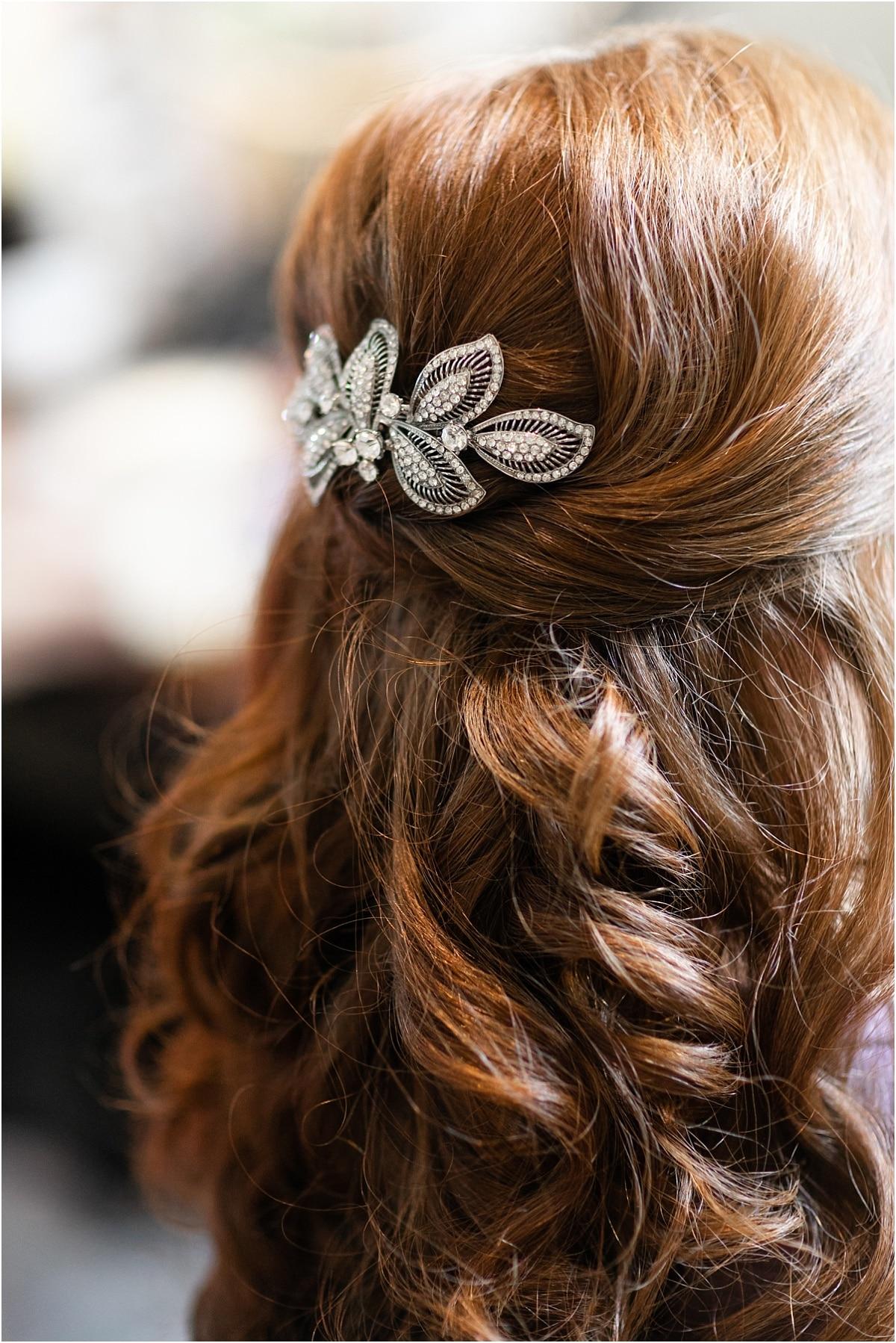 Brides hair wedding day photography