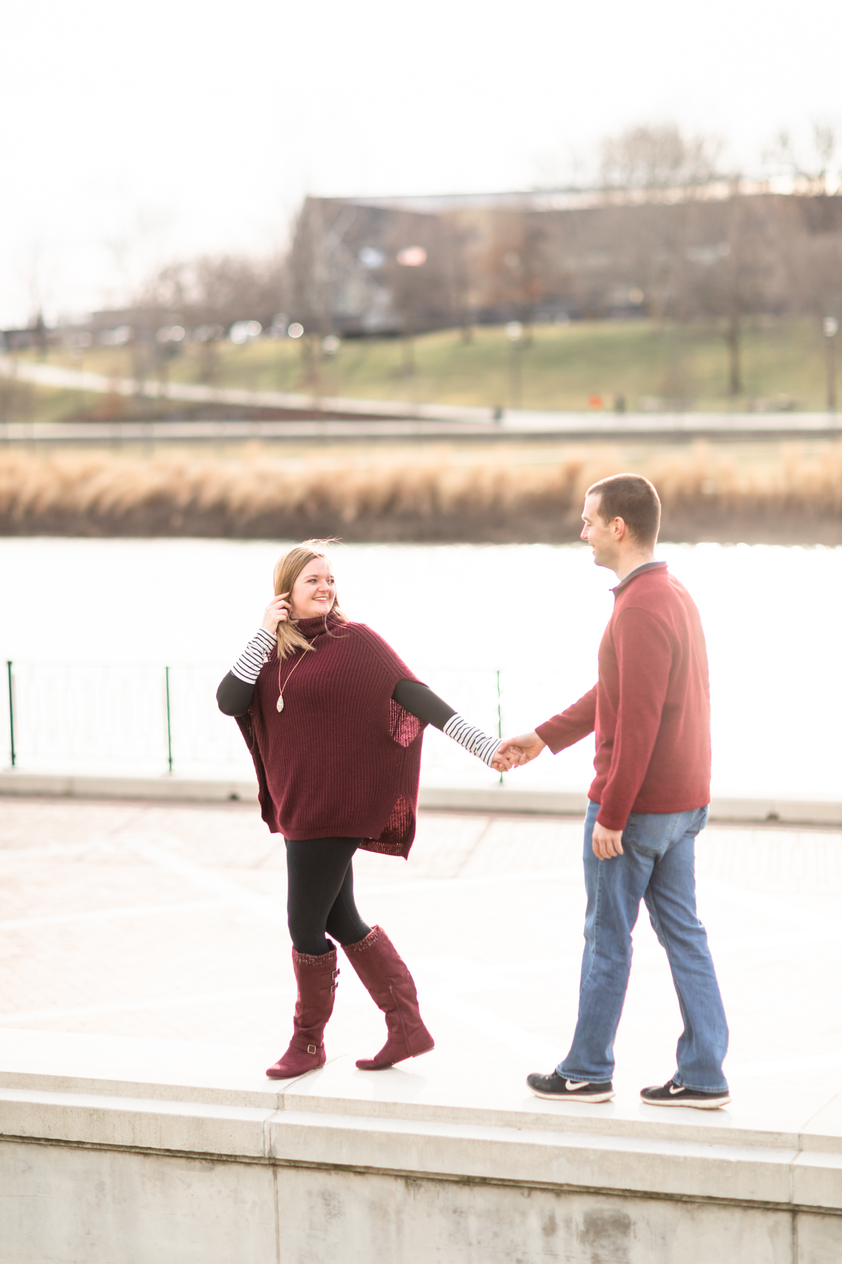 river front engagement photos