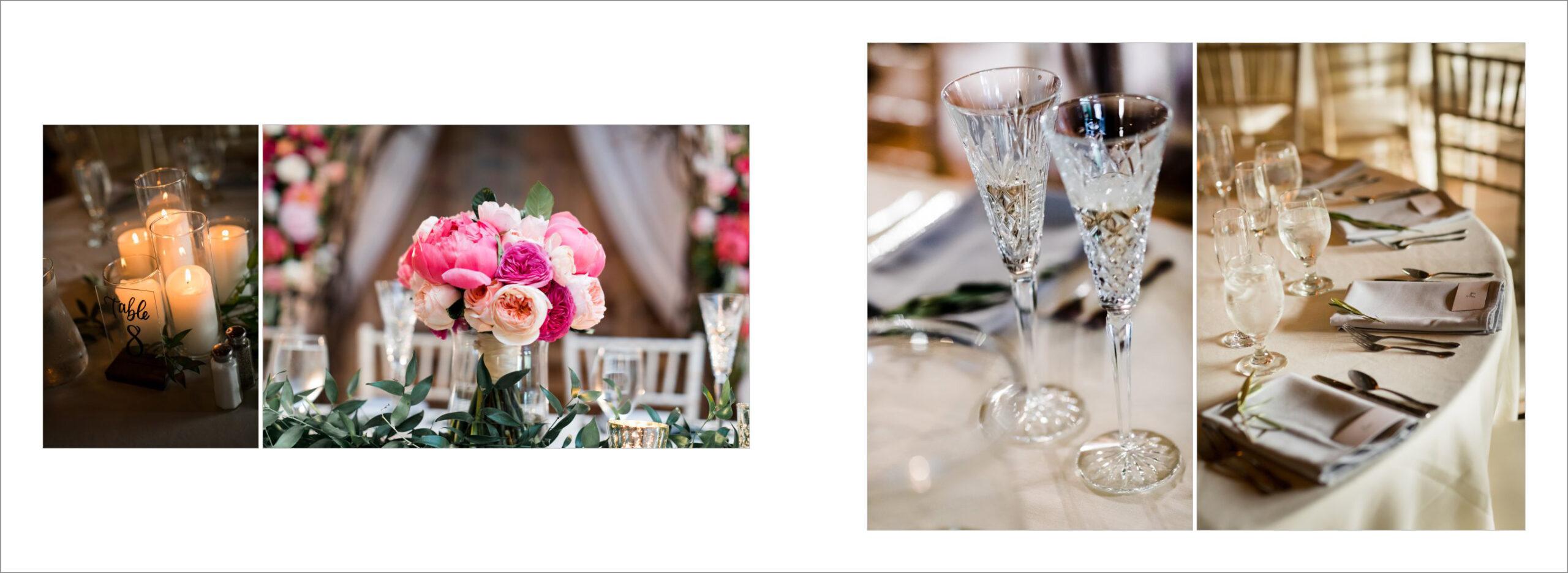 Reception decoration at wedding venue